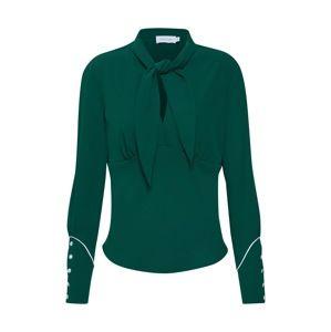 Calvin Klein Halenka 'BOW TIE BLOUSE LS'  zelená / bílá