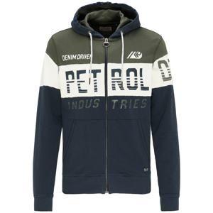 Petrol Industries Mikina s kapucí  noční modrá / olivová / bílá