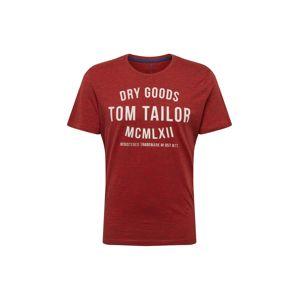 TOM TAILOR Tričko  červený melír / bílá