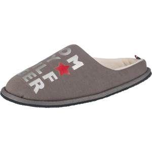 TOMMY HILFIGER Pantofle  šedobéžová / červená / stříbrná