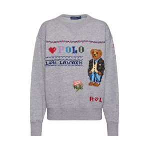 POLO RALPH LAUREN Mikina 'BEAR LS PO-LONG SLEEVE-KNIT'  šedá