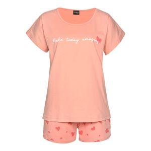 VIVANCE Pyžamo  korálová / bílá