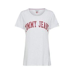 Tommy Jeans Tričko  světle šedá / červená