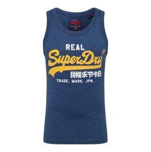 Superdry Tričko  námořnická modř / žlutá