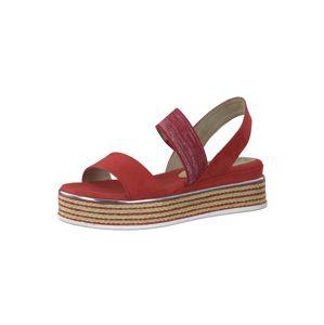 MARCO TOZZI Sandály  červená / stříbrná