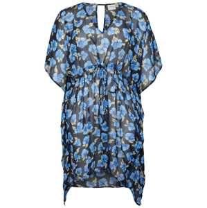 Junarose Letní šaty  béžová / modrá / noční modrá