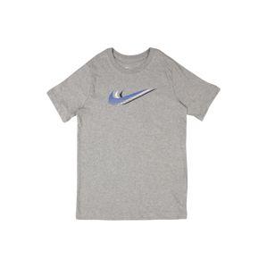 Nike Sportswear Tričko  šedý melír / bílá / modrá