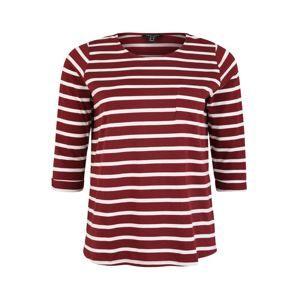 New Look Curves Tričko 'BRETON SLOUCHY'  tmavě červená / bílá