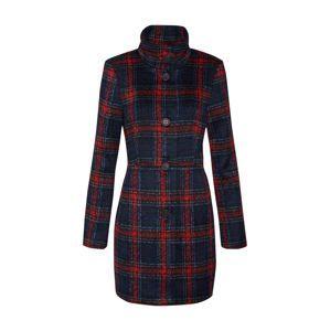 TOM TAILOR Přechodný kabát 'highlight wool coat check'  noční modrá / ohnivá červená