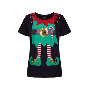 NEW LOOK Tričko 'XMAS ELF DRESS UP TEE'  smaragdová / krvavě červená / černá