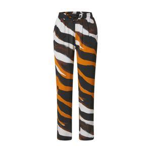 Morgan Kalhoty 'PANTALON'  černá / bílá / tmavě oranžová