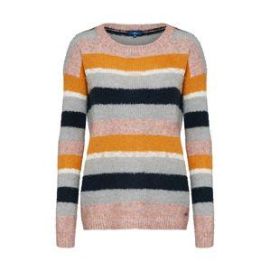 TOM TAILOR Svetr 'stripy yarn mix sweater'  šedá / jasně oranžová / růže
