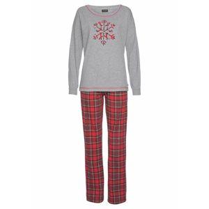 LASCANA Pyžamo  červená / šedý melír