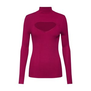 Lost Ink Svetr 'RIBBED CUT OUT ROLL NECK JUMPER'  fuchsiová