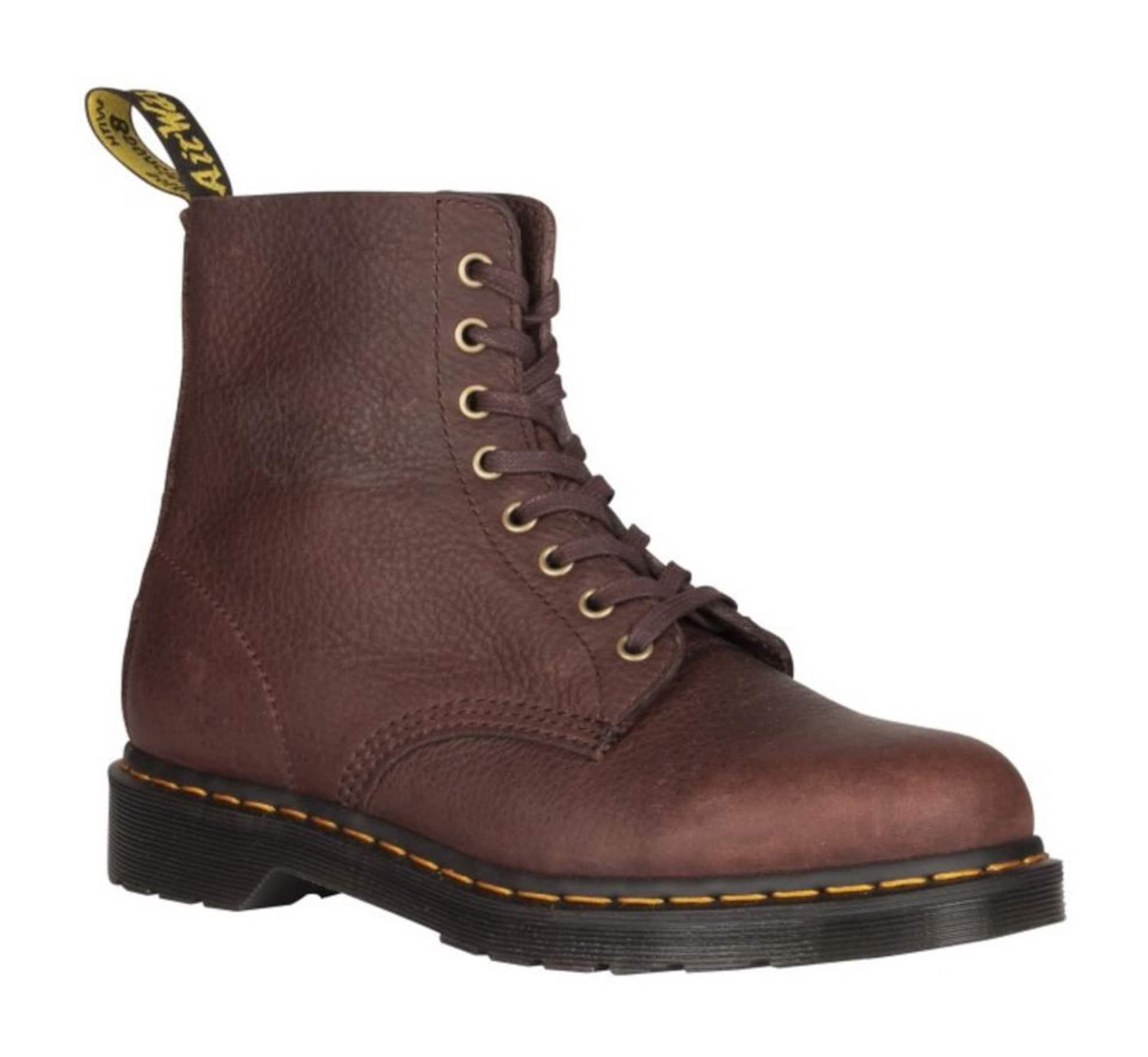 Dr. Martens Šněrovací boty 'PASCAL'  tmavě hnědá / zlatě žlutá / černá