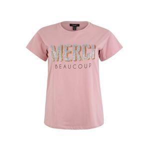 New Look Curves Tričko 'X Merci Beacoup Sequin'  tělová / modrá / pink