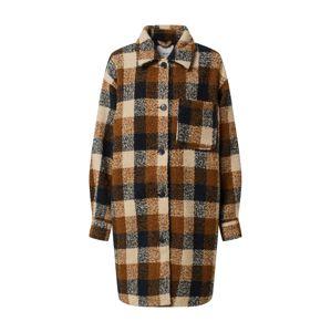 ICHI Přechodný kabát  krémová / bronzová / hnědá