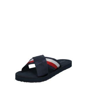 TOMMY HILFIGER Pantofle  tmavě modrá / bílá / světle červená