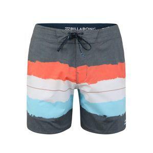 BILLABONG Sportovní plavky  námořnická modř / šedý melír / oranžová / bílá