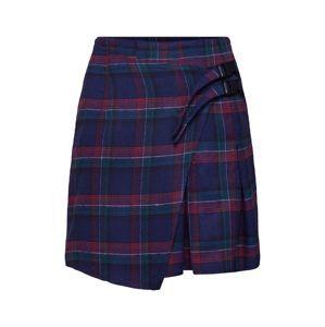 Missguided Sukně 'Check Buckle Wrap Mini Skirt'  modrá