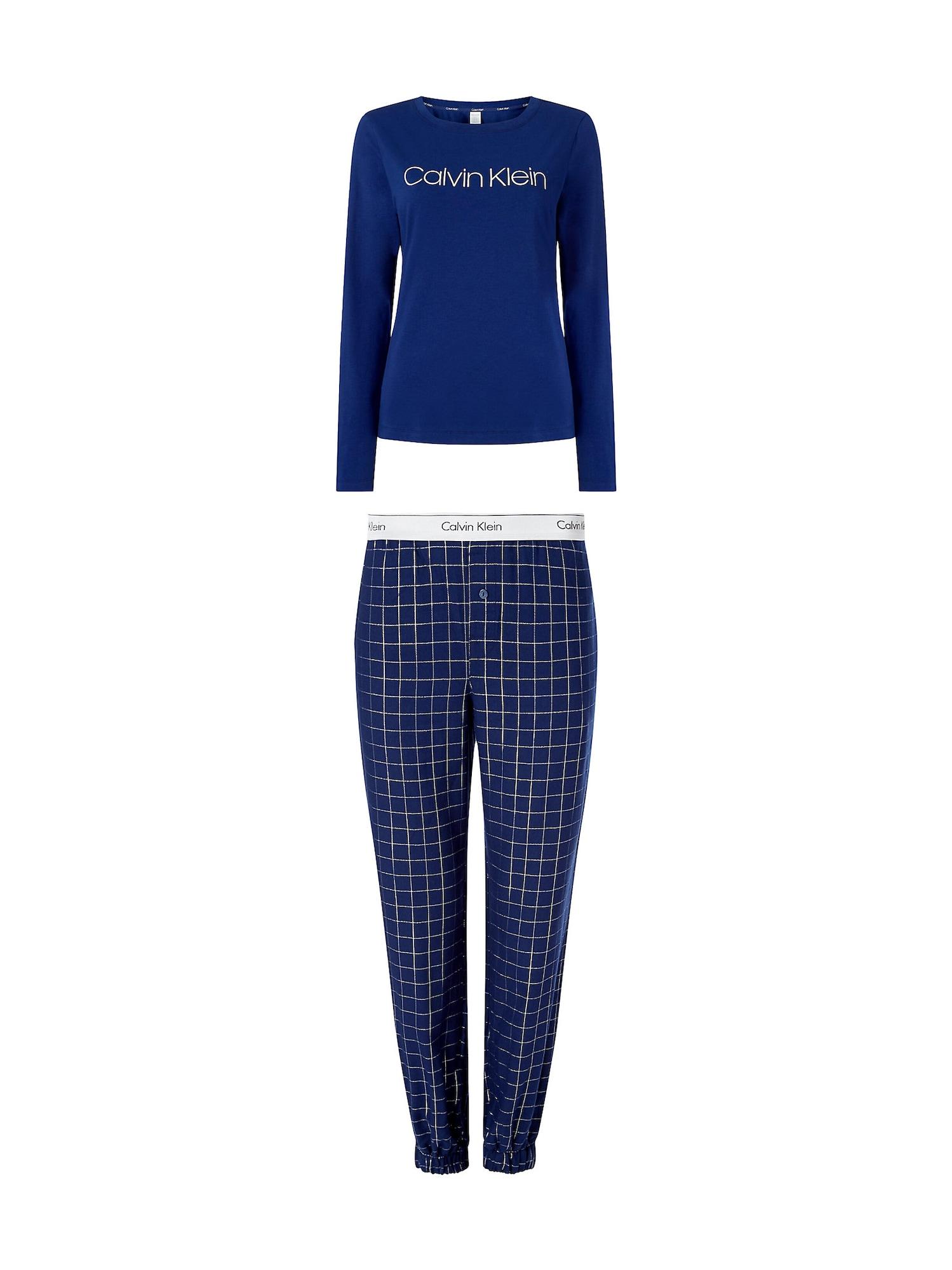 Calvin Klein Underwear Pyžamo  kobaltová modř / šedá / bílá