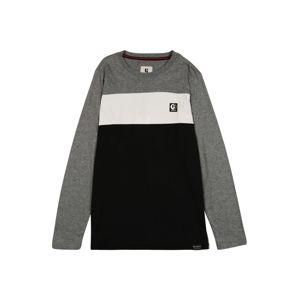 GARCIA Tričko  šedý melír / offwhite / černá