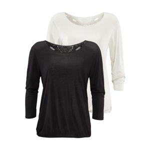 BEACH TIME Tričko  černá / bílá