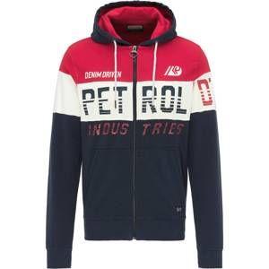 Petrol Industries Mikina s kapucí  noční modrá / červená / bílá