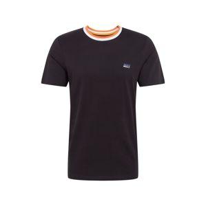 JACK & JONES Tričko  oranžová / černá / bílá