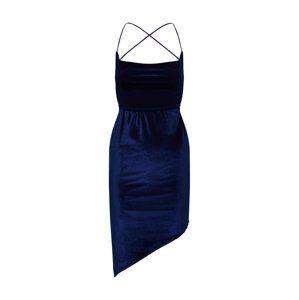 Missguided Letní šaty 'Velvet Asymetric Strappy Back Mini'  námořnická modř