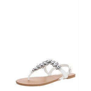 Miss Selfridge Žabky 'ELI White Toe Post Gem Sandals'  bílá