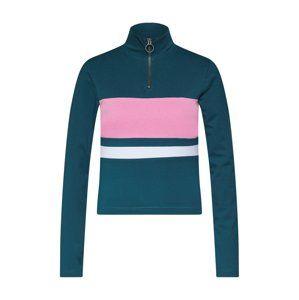 Urban Classics Tričko 'Ladies 3-Tone Zip Longsleeve'  jedle / pink