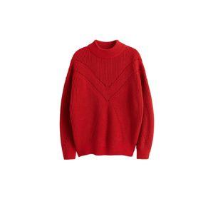 MANGO Maxi svetr 'Coeur'  červená