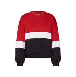 Tommy Jeans Mikina 'COLORBLOCK'  červená / černá / bílá