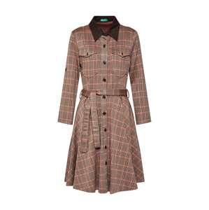 UNITED COLORS OF BENETTON Košilové šaty  hnědá / mix barev / červená