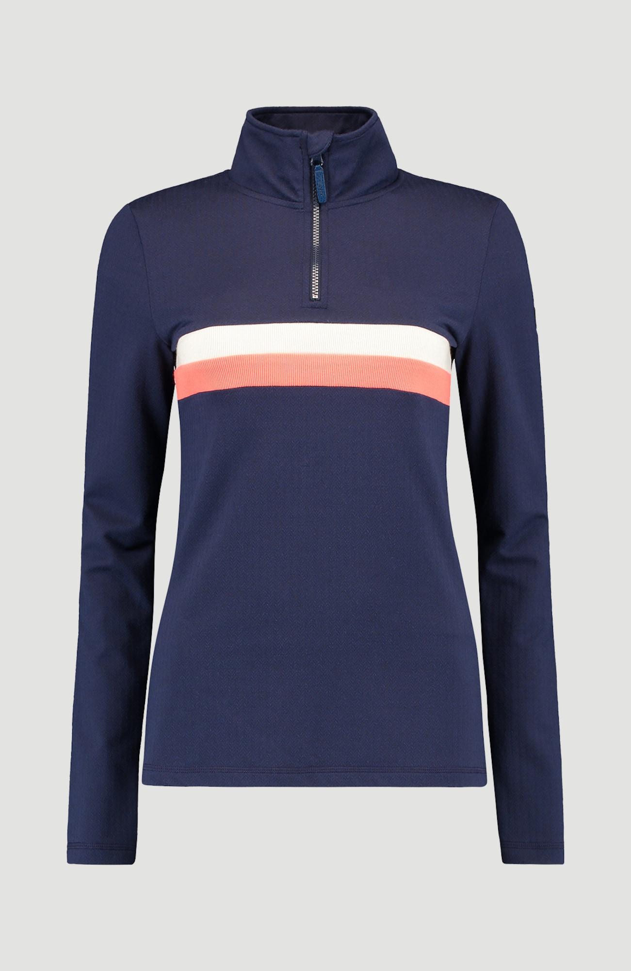 O'NEILL Funkční fleecová mikina 'Stripe Half Zip'  modrá / tmavě modrá / námořnická modř / pastelově oranžová / přírodní bílá / perlově bílá / bílá / pastelově růžová